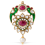 A RUBY AND 'POLKI' DIAMOND PENDANT -    - Auction of Fine Jewels & Watches