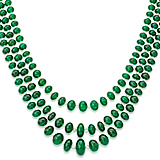 AN EMERALD AND DIAMOND BEAD NECKLACE -    - Auction of Fine Jewels & Watches