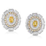 A PAIR OF YELLOW SAPPHIRE AND DIAMOND EAR CLIPS -    - Auction of Fine Jewels & Watches