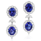 A PAIR OF TANZANITE AND DIAMOND EAR PENDANTS -    - Auction of Fine Jewels & Watches