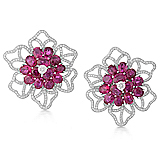 A DELICATE PAIR OF RUBY AND DIAMOND EAR CLIPS -    - Auction of Fine Jewels & Watches