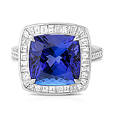 A TANZANITE AND DIAMOND RING -    - Auction of Fine Jewels & Watches