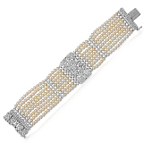 A PEARL AND DIAMOND BRACELET -    - Auction of Fine Jewels & Watches