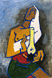 Lady with the Lamp - M F Husain - Winter Online Auction
