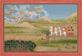 Fire vs Rain - The Defeat of Indra -    - Indian Antiquities & Miniature Paintings