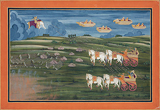 Fire vs Rain - The Battle for Agni -    - Indian Antiquities & Miniature Paintings