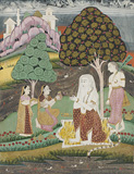 A Queen Visits an Ascetic -    - Indian Antiquities & Miniature Paintings