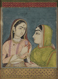 A Princess with her Companion -    - Indian Antiquities & Miniature Paintings