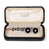AN ONYX AND PEARL DRESS SET -    - 24-Hour Online Auction: Art Deco