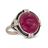 A RUBY, ONYX AND DIAMOND RING -    - 24-Hour Online Auction: Art Deco