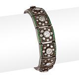 AN EMERALD AND DIAMOND BRACELET -    - 24-Hour Online Auction: Art Deco