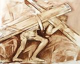Christ Carrying His Cross - Krishen  Khanna - Autumn Art Auction