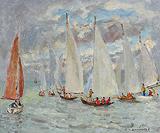 École de voile, Deauville (Sailing School, Deauville) - André  Hambourg - Impressionist and Modern Art Auction