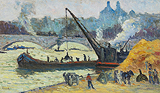 Chalands sur la Seine par temps gris (Barge on the Seine in Overcast weather) - Maximilien  Luce - Impressionist and Modern Art Auction