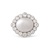 A NATURAL PEARL AND DIAMOND BROOCH -    - Auction of Fine Jewels & Watches