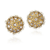 A PAIR OF 'POLKI' DIAMOND AND PEARL EAR CLIPS -    - Auction of Fine Jewels & Watches