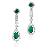A STUNNING PAIR OF EMERALD AND DIAMOND EAR PENDANTS -    - Auction of Fine Jewels & Watches