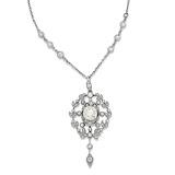 A BELLE EPOQUE STYLE DIAMOND PENDANT -    - Auction of Fine Jewels & Watches