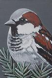 Sparrow (little painting) - Rajan  Krishnan - 24-Hour Auction: Small Format Art
