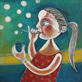 Young Girl Making Soap Bubbles - Paritosh  Sen - Absolute Auction of Indian Art & Collectibles