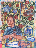 Teapot, Eggplant and a House Lizard - Arpita  Singh - Autumn Art Auction