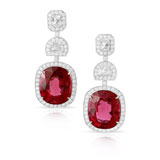 A PAIR OF RUBELITE AND DIAMOND EAR PENDANTS -    - Autumn Auction of Fine Jewels and Silver