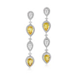 A PAIR OF DIAMOND AND YELLOW SAPPHIRE EAR PENDANTS -    - Autumn Auction of Fine Jewels and Silver