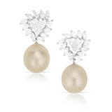 A PAIR OF DIAMOND AND PEARL EAR PENDANTS -    - Autumn Auction of Fine Jewels and Silver