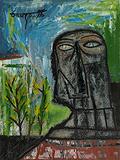 Head in a Landscape - F N Souza - Summer Art Auction