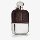 A LADY'S EDWARD VII STERLING SILVER, LEATHER AND GLASS FLASK, G & JWH -    - Travel and Leisure Auction