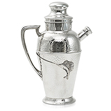 A SILVER PLATED 'FISH' COCKTAIL PITCHER, APOLLO SILVER CO. -    - Travel and Leisure Auction