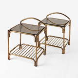 A PAIR OF ART DECO-STYLE BRASS SIDE TABLES -    - 24-Hour Online Auction: Elegant Design