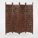 AN INTRICATELY CARVED PERIOD FOUR-LEAF FOLDING SCREEN -    - 24-Hour Online Auction: Elegant Design