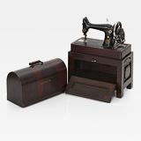 A MINIATURE VINTAGE PORTABLE SEWING MACHINE, SINGER -    - 24-Hour Online Auction: Elegant Design
