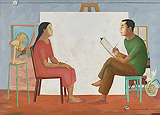 Study for a love painting - K P Reji - ALIVE Contemporary Day Sale | Mumbai, Live