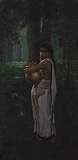 Untitled (Woman with Pitcher) - Hemendranath  Majumdar - Modern Evening Sale | Mumbai, Live