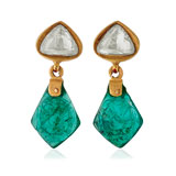 A PAIR OF EMERALD AND DIAMOND 'POLKI' EAR PENDANTS -    - Online Auction of Fine Jewels and Silver