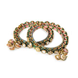 A PAIR OF 'POLKI' DIAMOND AND ENAMELLED PACHELI BANGLES -    - Online Auction of Fine Jewels and Silver