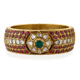 A GEMSET 'KADA' OR BANGLE -    - Online Auction of Fine Jewels and Silver
