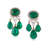 AN EMERALD AND DIAMOND EAR PENDANTS -    - Online Auction of Fine Jewels and Silver