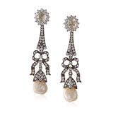 A PEARL AND DIAMOND EAR PENDANTS -    - Online Auction of Fine Jewels and Silver