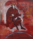 Seated Man in Red (After Titian) - F N Souza - Summer Online Auction