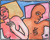 'Couple' Love - Jogen  Chowdhury - Modern and Contemporary Indian Art