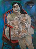 Woman Reading a Newspaper - Paritosh  Sen - Modern and Contemporary Indian Art