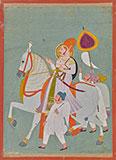 A MAHARAJA RIDING AN ADORNED STALLION -    - Classical Indian Art