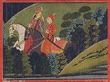 BAZ BAHADUR AND RUPMATI RIDING AT NIGHT -    - Classical Indian Art