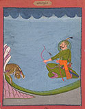 A WARRIOR HUNTING A TIGER -    - Classical Indian Art
