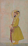 PORTRAIT OF A PRINCE STANDING -    - Classical Indian Art