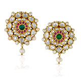 A PAIR OF 'POLKI' DIAMOND EAR PENDANTS -    - Online Auction of Fine Jewels and Silver