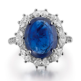 A BURMESE SAPPHIRE AND DIAMOND RING -    - Online Auction of Fine Jewels and Silver